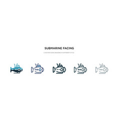 Submarine facing right icon in different style vector