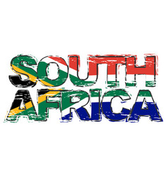 text south africa with national flag under it vector image