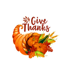 Thanksgiving cornucopia symbol of autumn harvest vector