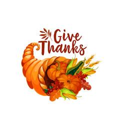 Thanksgiving cornucopia symbol of autumn harvest vector