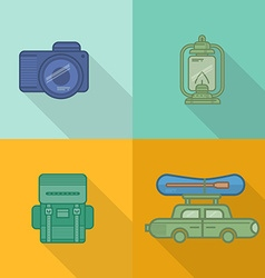 Tourism icons with long shadow vector image