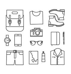 Tourist line icons set vector image