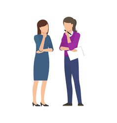 Two women discussing business plan business ladies vector