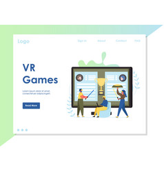 vr games website landing page design vector image