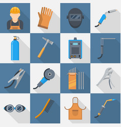 Welding icon flat style set vector
