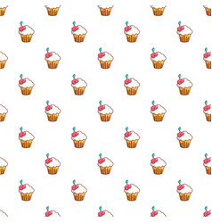 white cupcake with cherries pattern vector image