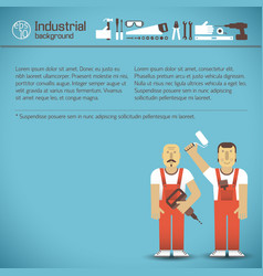 Workers and tools blue background vector