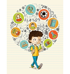 Back to school education icons colorful cartoon vector image vector image