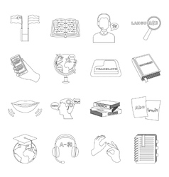 Interpreter and translator set icons in outline vector image