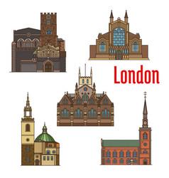 london travel landmark of british church icon set vector image vector image