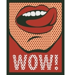 mouth with his tongue hanging out screaming wow vector image