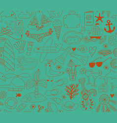 summer vacation set doodle elements seamless vector image