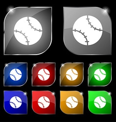 Tennis ball icon sign Set of ten colorful buttons vector image