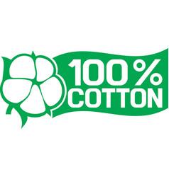 100 percent cotton symbol vector image vector image
