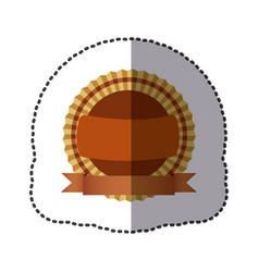 Brown round emblem with ribbon icon vector