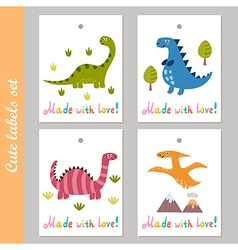 Cute labels set with funny dinosaur vector