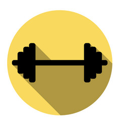 dumbbell weights sign flat black icon vector image