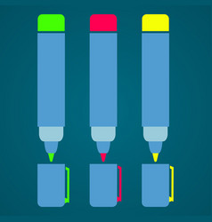 felt-tip pen schools supplies vector image