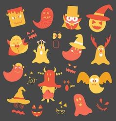 Set of monster halloween vector image