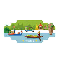 thailand travel and attraction landmark vector image vector image