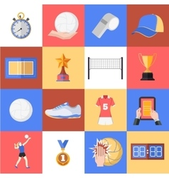 Volleyball icons set Flat style design Cup vector image vector image