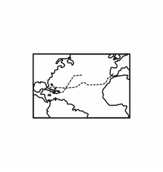 Columbus voyage map icon outline style vector