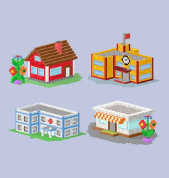 cute colorful flat style house village pixel art vector image vector image