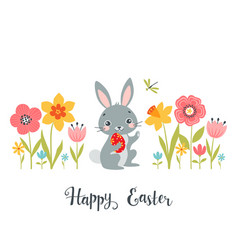 Easter bunny among spring flowers vector