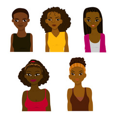 fashion and hairstyle of african women vector image vector image