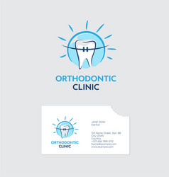 orthodontist clinic logo tooth braces blue shine vector image