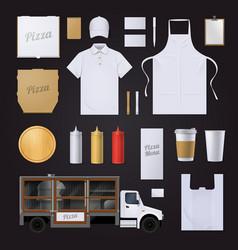 Pizza Corporate Identity Template Design Set vector image