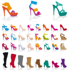 set of detailed colorful shoes vector image vector image