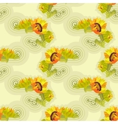 Sunflowers yellow seamless background with green vector image vector image