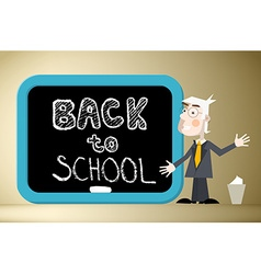 Back to School Title on Blackboard with Teacher vector image