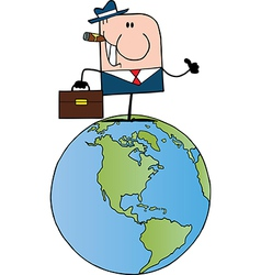 Businessman Holding A Thumb Up On Earth vector image vector image