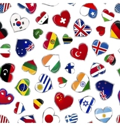 Heart shaped glossy flags of world sovereign vector image