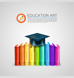 stack of books with cap art object vector image