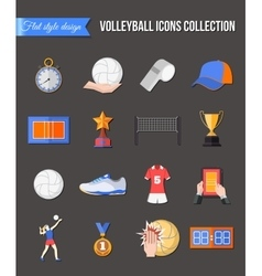 Volleyball icons set flat style design cup vector