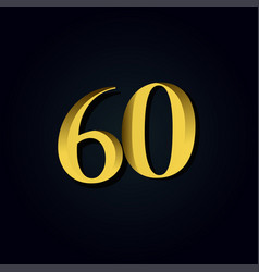 60 years anniversary gold number template design vector