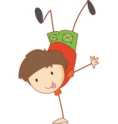 a boy cartoon character in hand drawn doodle vector image