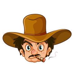 A man wearing a brown hat while smoking vector image