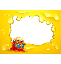 A yellow border template with a monster swallowing vector image