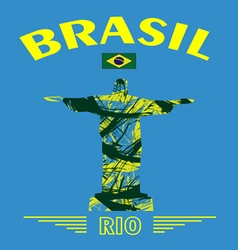 Abstract Brasil and rio design with statue over bl vector