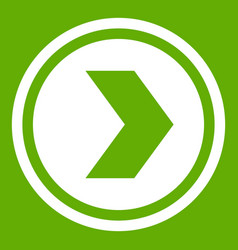 arrow to right in circle icon green vector image