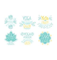 Ayurvedic medicine studio labels set meditation vector