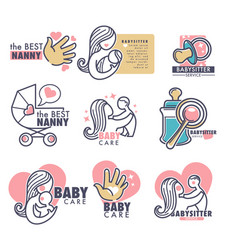 baby care nanny service person looking for vector image