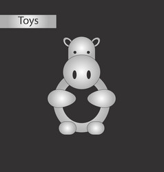 Black and white style toy hippo vector