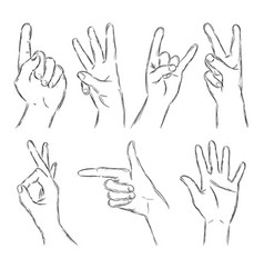Black outline hands vector