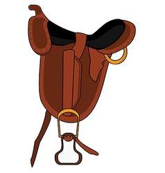 Brown leather saddle vector