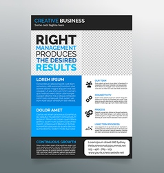 Business flyer template A4 - modern blue design vector